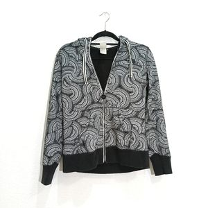 The North Face black and white print zip hoodie